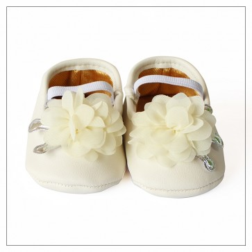 Baby Steps Baby Shoes White Flower