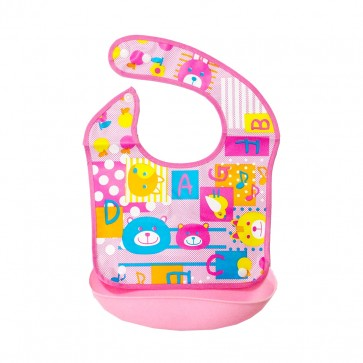 Little Sparks Waterproof Baby Bib with Detachable Silicone Pocket ABC Pink