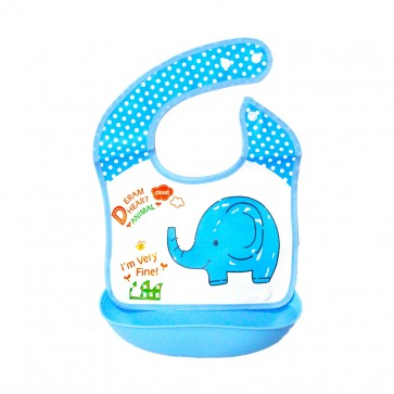 Little Sparks Waterproof Baby Bib with Detachable Silicone Pocket Elephant Blue