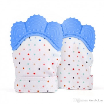 Little Star BABY TEETHING MITTENS BLUE