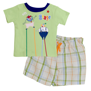 Little One On Stage Green Shirt Set