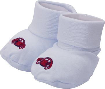 Cuby Baby Booties Blue Car