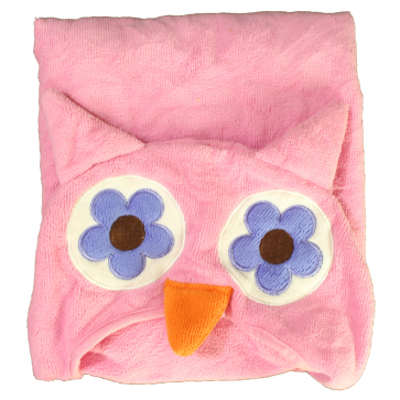 Cuby Baby Hooded Towel Blanket Pink Owl