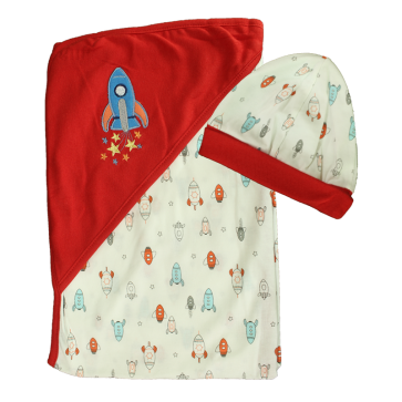 Cuby Baby Hooded Shawl & Cap Set Rocket Red