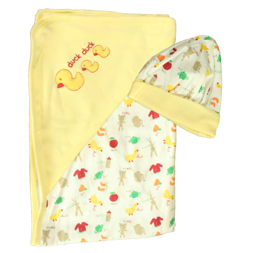 Cuby Baby Hooded Shawl & Cap Duck Yellow