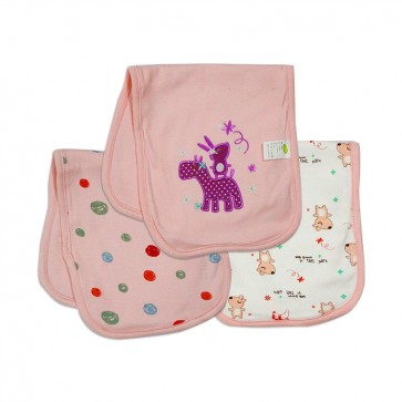 Careone Pack Of 3 Baby Burp Cloth Set Rabbit Pink