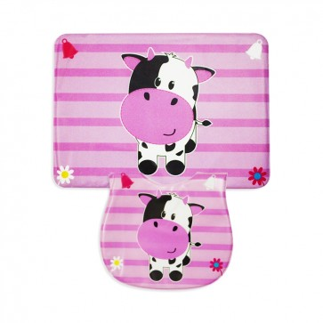 Careone Pack Of 2 Baby Bib & Napkin Set Moo Pink