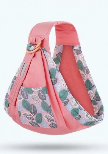 Little Sparks Baby Ring Sling Carrier Leaf Pink