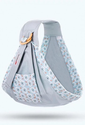 Little Sparks Baby Ring Sling Carrier Flowers Grey