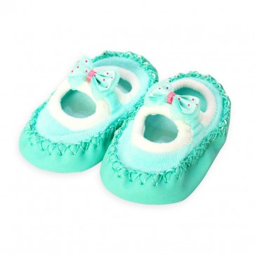 Little Sparks Baby Bootie Green Bow