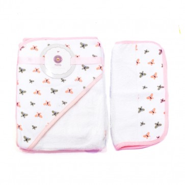 Little Sparks Baby Bath Towel With Washcloth Butterfly Pink