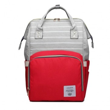 Baby Diaper Bag (Waterproof) Red & Grey