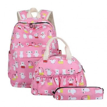 Baby Diaper Bag 3 Pcs Bear Light Pink