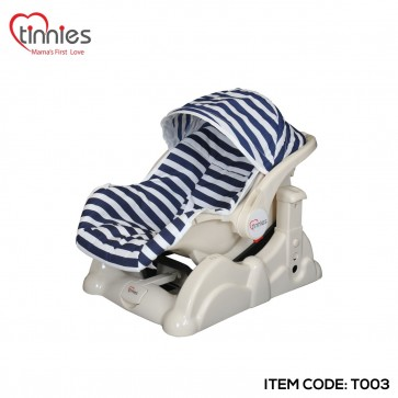 TINNIES CARRY COT W/ROCKLING-BLUE STRIPE