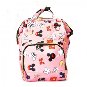Little Sparks Baby Diaper Bag (Waterproof) Mikey Mouse Pink