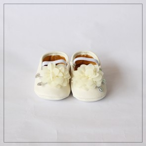 Baby Step Baby Shoes White Flower