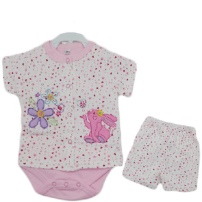 Baby Romper Set Rabbit Pink