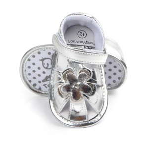 Baby Steps Shoes Silver Flower