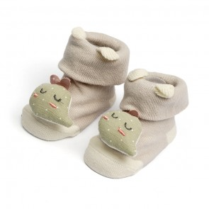 Little Spark Baby Socks Booties Pack of 2 Yellow & Grey