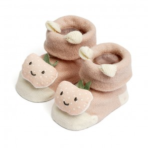 Little Spark Baby Socks Booties Pack of 2 Blue & Beige