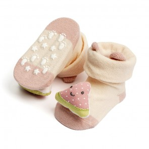 Little Spark Baby Socks Booties Pack of 2 Pink & Beige