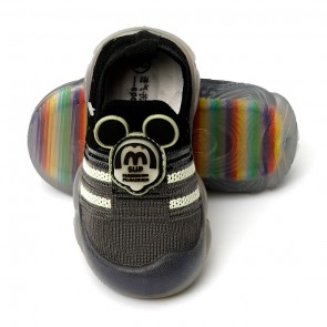 Happy Toes Kids Shoes Mickey Grey & Black
