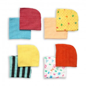 Cuby Baby Face Towels Pack Of 8 Multicolor
