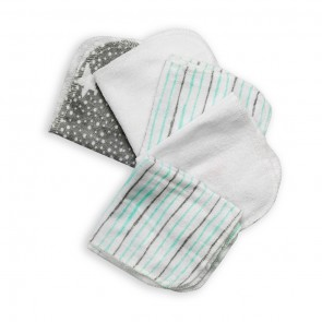 Cuby Baby Face Towels Pack Of 6 Grey