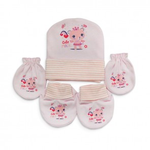 Little Sparks Baby Mittens & Cap Set Cute Bear Pink