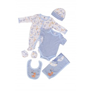 Little Sparks Pack Of 7 Baby Starter Set Giraffe Blue