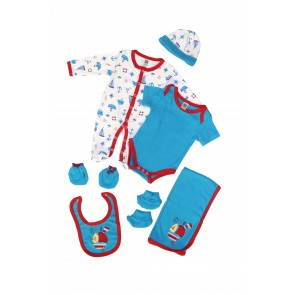 Little Sparks Pack Of 7 Baby Starter Set Boat Blue & Red