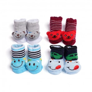 Little Sparks Pack Of 4 Newborn Baby Booties Multicolor