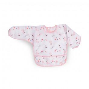 Little Sparks Waterproof Baby Sleeved Bib Pink