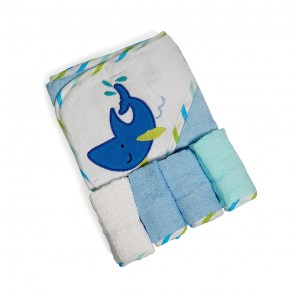 Little Sparks Baby Bath Towel Wirth Washcloth Whale White & Blue